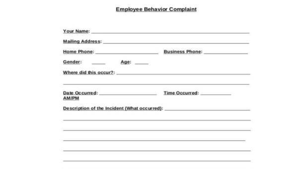 9+ Employee Complaint Form Samples - Free Sample, Example Format