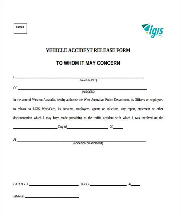 Sample Release Forms - accident release form