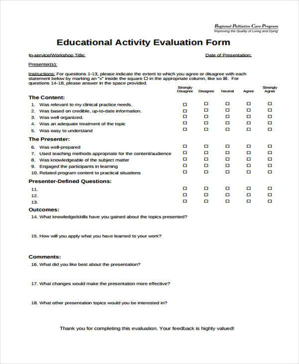 Group Activity Evaluation Template Hr Interview Evaluation Form - presentation feedback form