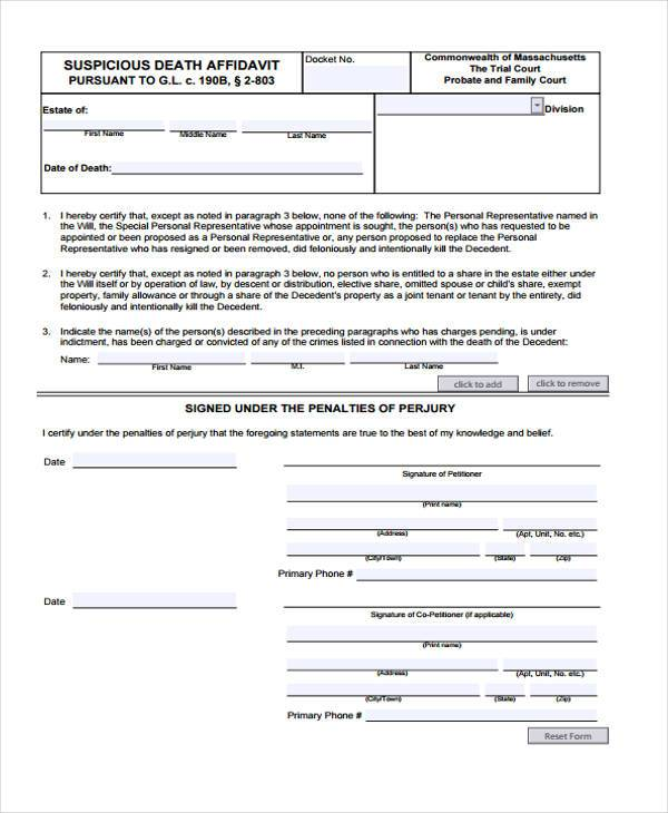 Affidavit Of Death Of Trustee Form - Recetproductoseb