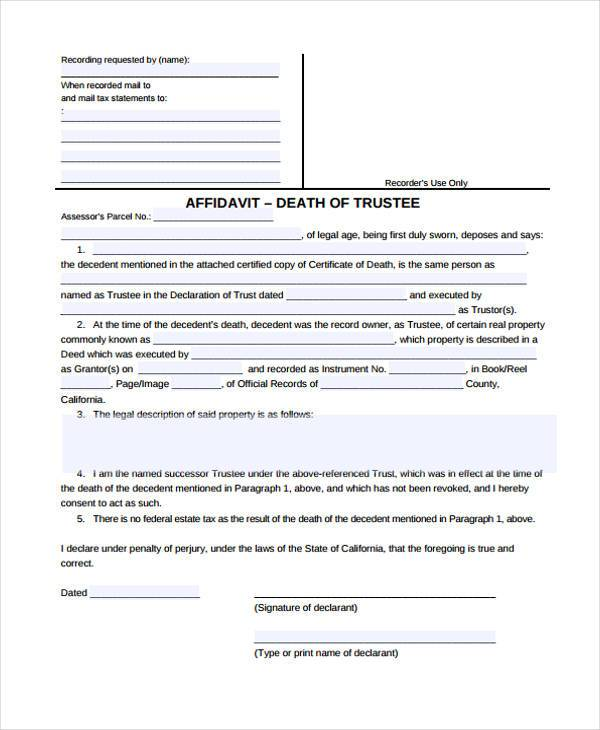 Sample Affidavit of Death Forms - 7+ Free Documents in Word, PDF