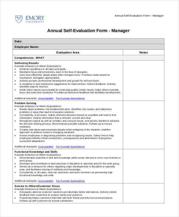 Sample Supplier Evaluation Forms - sample manager evaluation