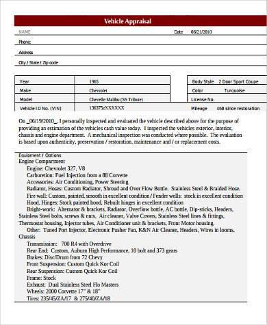 jewelry appraisal template