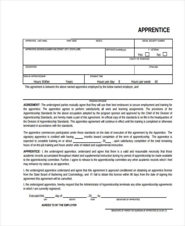 Sample Contract Registration Form - Free Documents in Word, PDF - training agreement contract