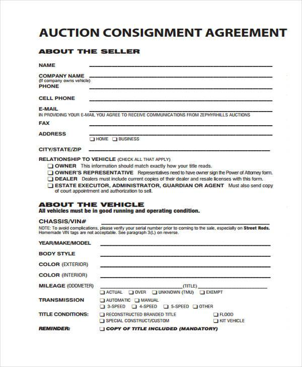 Consignment Agreement Template - mandegarinfo - consignment agreement template