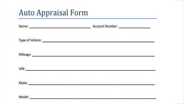 7+ Auto Appraisal Form Samples - Free Sample, Example Format Download