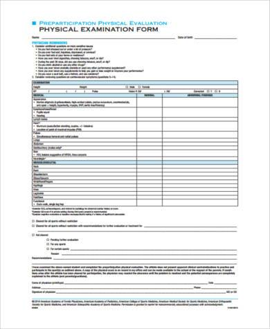 8+ Physical Form Samples - Free Sample, Example, Format Download - physical exam form