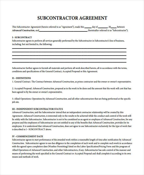 Sample Subcontractor Contract Forms - 7+ Free Documents in Word, PDF - sample subcontractor agreement