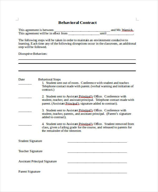 Sample Behavior Contract Forms - 7+ Free Documents in Word, PDF - Student Contract Templates