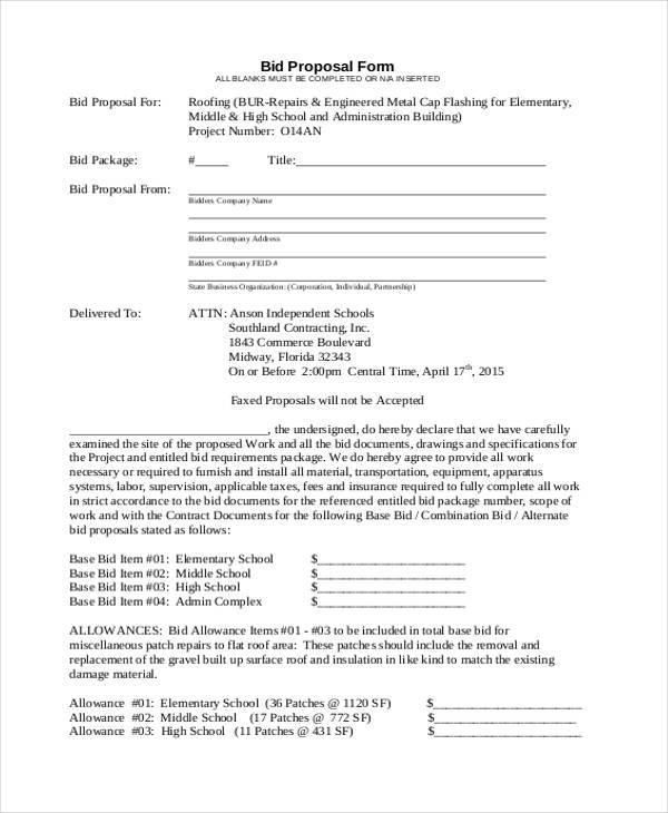 9+ Bid Proposal Form Samples - Free Sample, Example Format Download