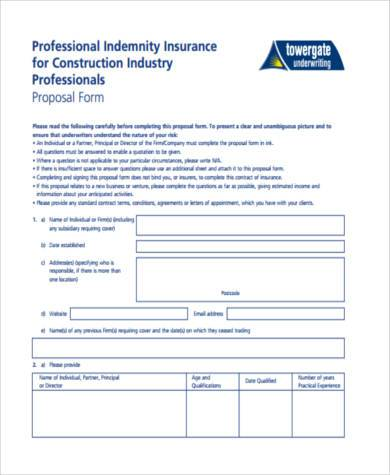 Construction Proposal Form Samples - 8+ Free Documents in PDF - construction proposal form