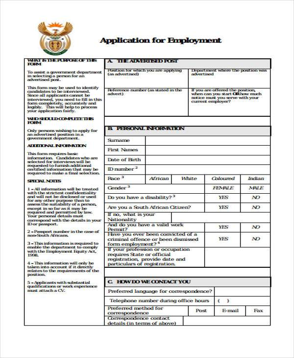 Employment Application Forms - blank employment application