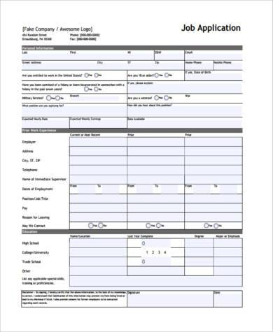 7+ Blank Job Application Form Samples - Free Sample, Example - printable job application form