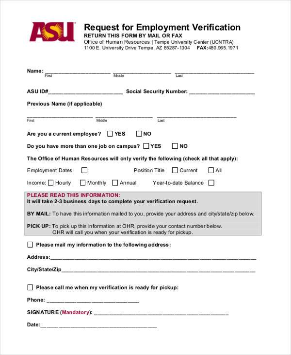 Blank employment verification form nfgaccountability – Employment Verification Request Form Template