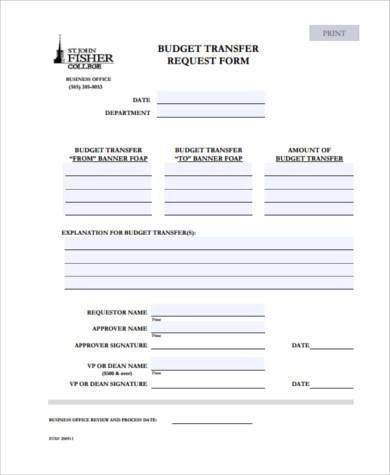 High Quality ... Sample Budget Request Forms   9+ Free Documents In Word, PDF   Transfer  Request ...