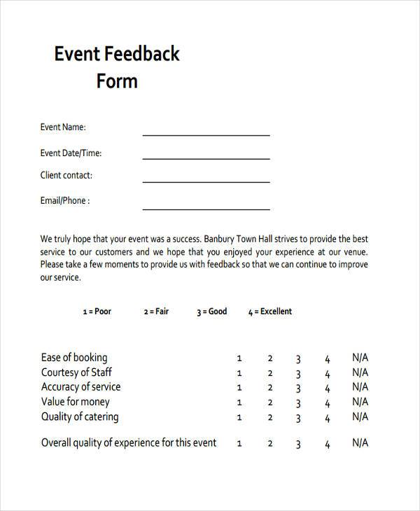 Feedback Form Examples - event feedback form in pdf