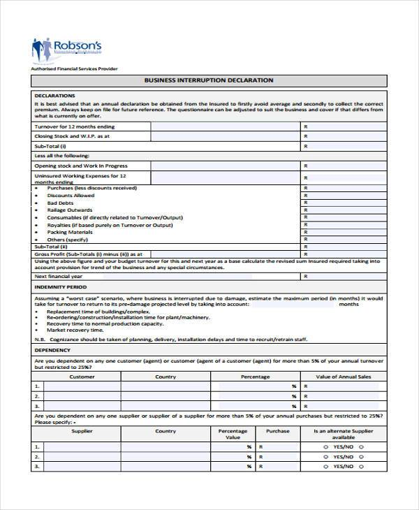 Sample Business Declaration Forms - 7+ Free Documents in Word, PDF - financial declaration form