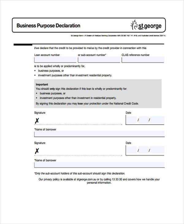 Sample Business Declaration Forms - 7+ Free Documents in Word, PDF