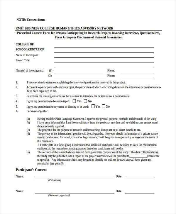 7+ Business Consent Form Samples - Free Sample, Example Format