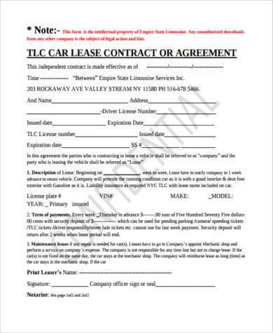 Car Lease Agreement Free Sample Private Label Agreement Templates