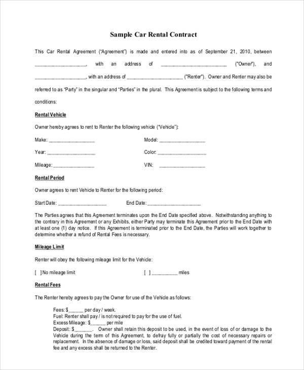 Car Rental Agreement Free Printable Rental Agreements Free - sample vehicle lease agreement