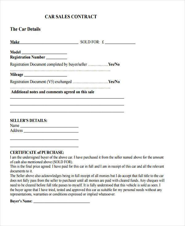 8+ Sale Contract Form Samples - Free Sample, Example Format Download - car sales contract sample