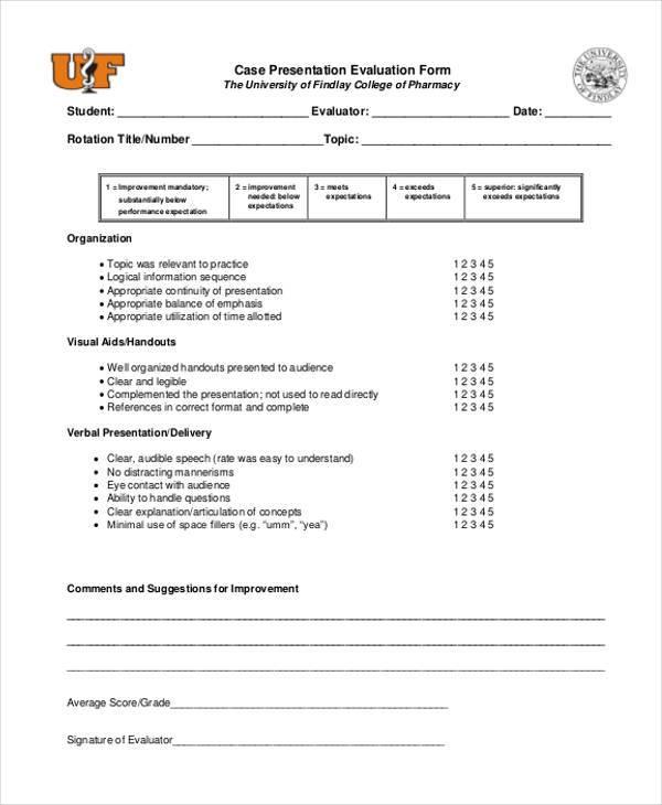 Evaluation Form Examples - presentation evaluation form in doc