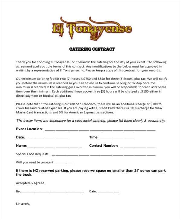 7+ Catering Contract Form Samples - Free Sample, Example Format Download - format for contract