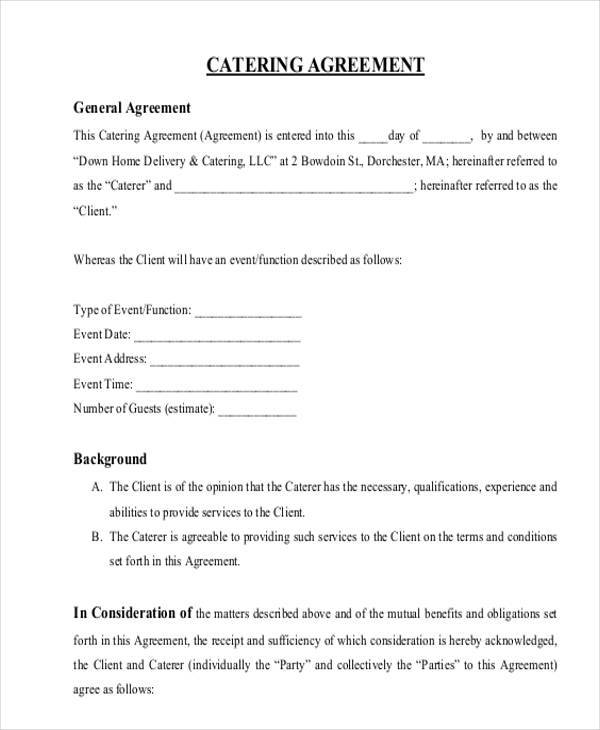 sample catering contract template - zaxa