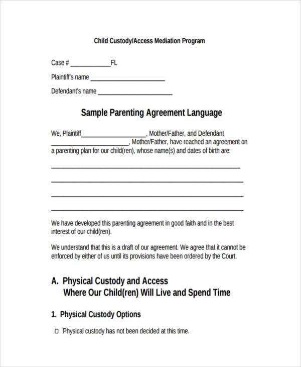 Custody Agreement Examples. divorce agreement template 11 free ...