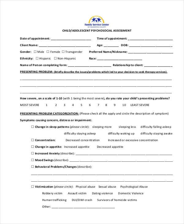 Sample Free Assessment Forms - 33+ Free Documents in Word, DPF - psychosocial assessment