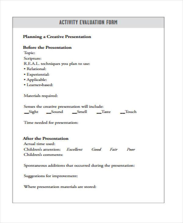 7+ Activity Evaluation Form Samples - Free Sample, Example Format - group activity evaluation template