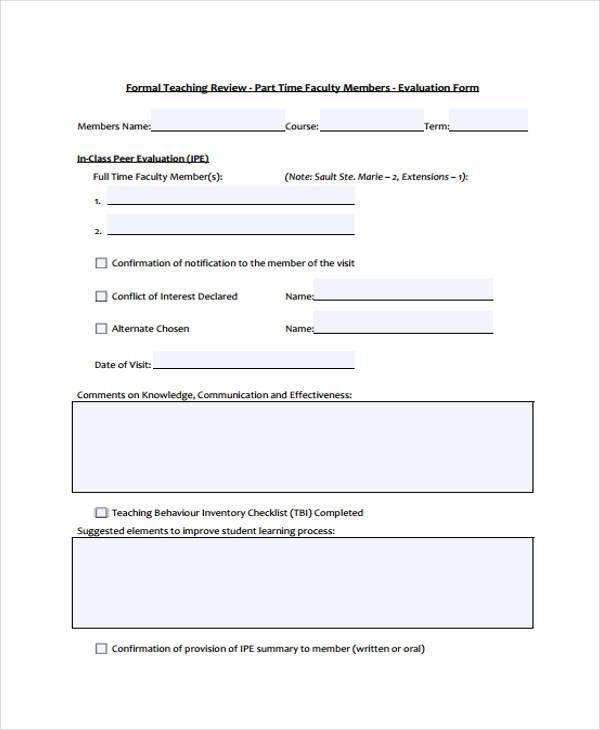 Sample Peer Evaluation Form sample group self evaluation form - 6 - class evaluation template