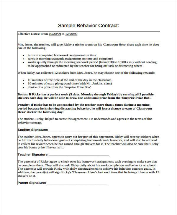 Teacher Contract Template oakandale