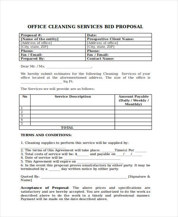 Bid proposal forms jobsbillybullock - bid proposal forms