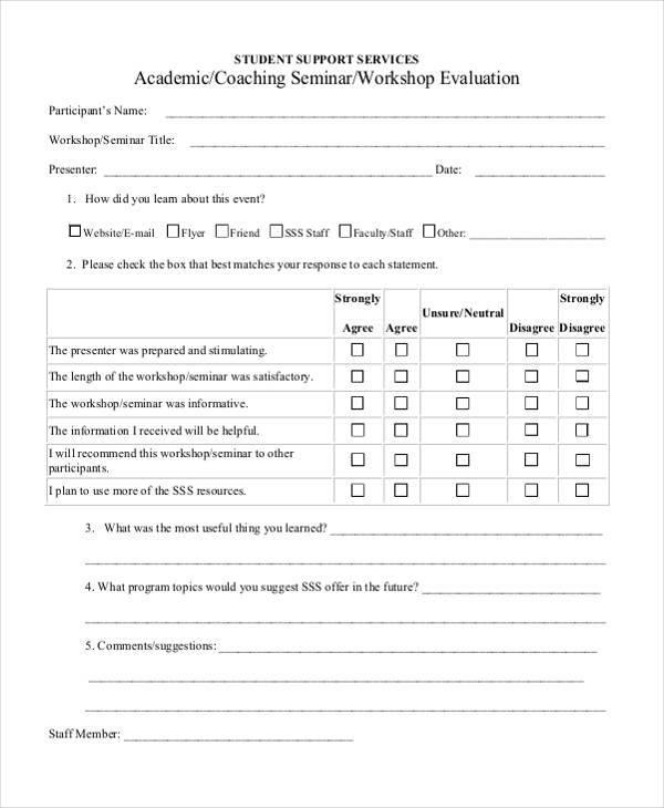 Sample Workshop Evaluation Forms - seminar feedback form