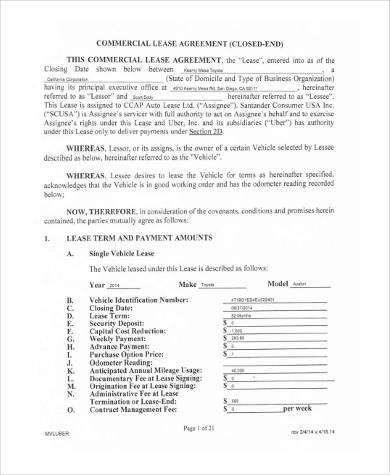 Vehicle Lease Agreement Samples - 9+ Free Documents in PDF - commercial truck lease agreement