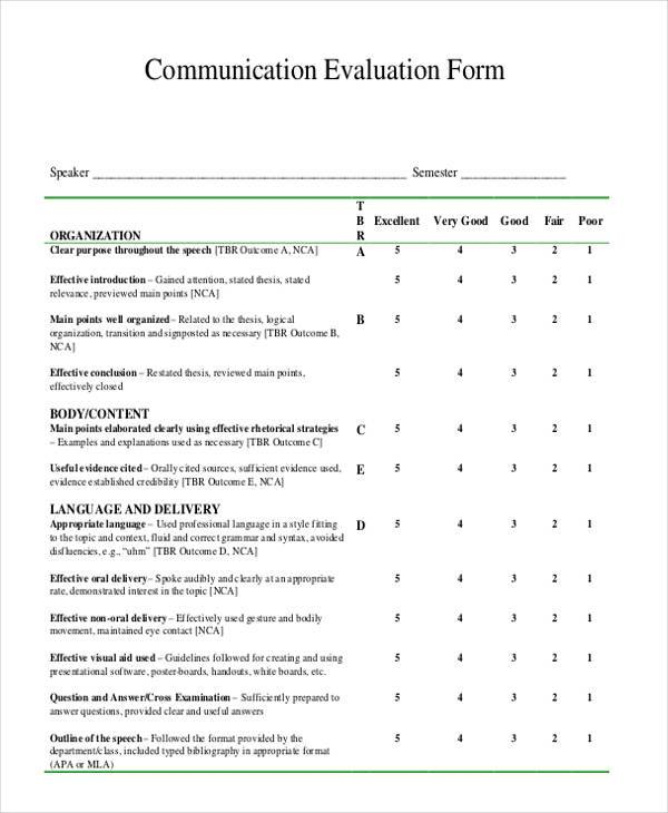 Superior 7+ Communication Evaluation Form Samples Free Sample, Example Creating  Effective Evaluation .