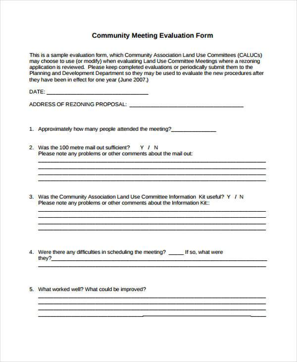8+ Meeting Evaluation Form Samples - Free Sample, Example Format