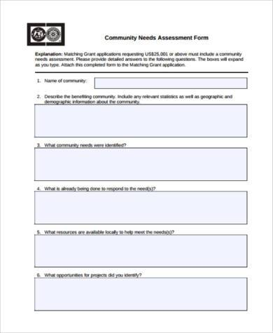 Sample Community Assessment Forms - 8+ Free Documents in Word, PDF - needs assessment templates