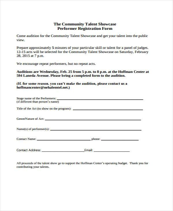 10+ Talent Show Registration Form Samples - Free Sample, Example - audition form