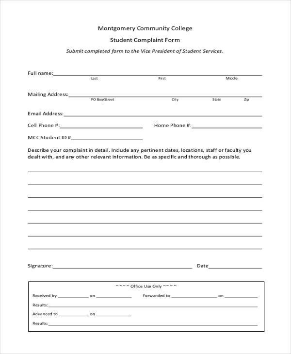 7+ Student Complaint Form Samples - Free Sample, Example Format Download - complaint form