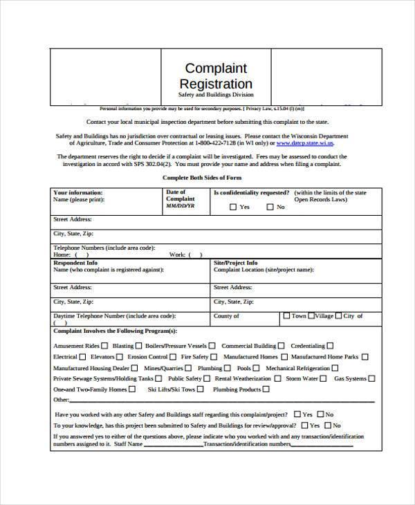 7+ Complaint Register Form Samples - Free Sample, Example Format - customer registration form sample
