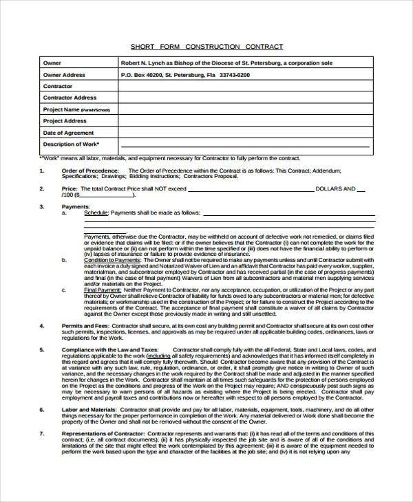 Construction Contract Agreement 8+ construction contract form - free sample construction contract