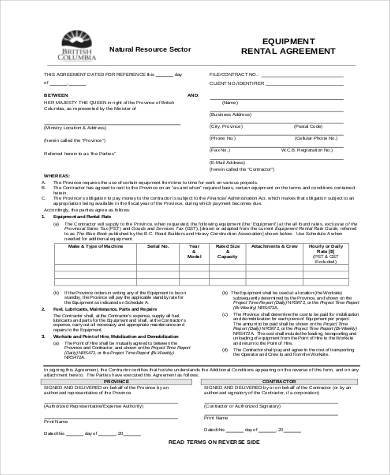 Sample Rental Agreement Forms - 23+ Free Documents in Word, PDF - equipment lease agreement template