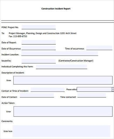Sample Construction Report Forms - 8+ Free Documents in Word, PDF