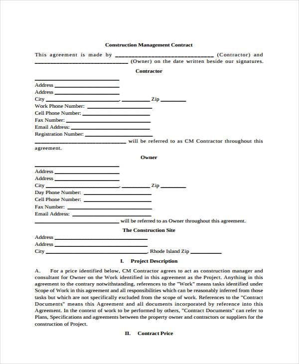 8+ Construction Contract Form Samples - Free Sample, Example Format - construction contract samples