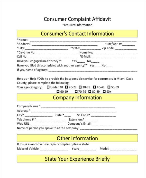 Sample Complaint Affidavit Forms - 7+ Free Documents in Word, PDF - sample consumer complaint form