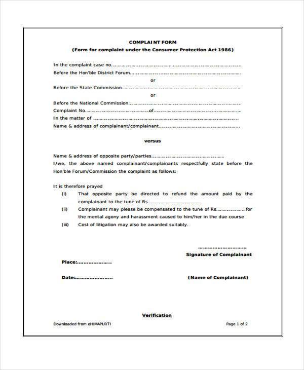 Sample Consumer Complaint Forms - 10+ Free Documents in Word, PDF - consumer form