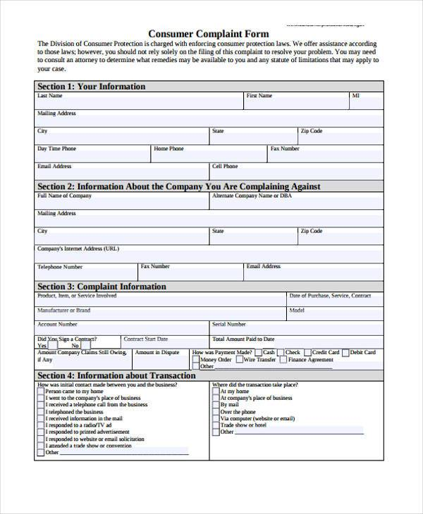 6+ Consumer Complaint Form Samples - Free Sample, Example Format